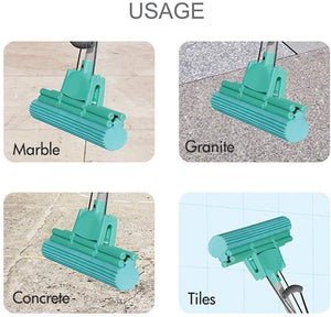 PVA Mop with Super Absorbent Sponge Head for Home Floor Cleaning Suitable for Kitchen Home Telescopic Handle Mop ( Multicolour) - halfrate.in
