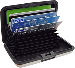 Aluma Wallet Multi Pockets Aluminum Purse Credit Cards Organizing Hard Case Holder - halfrate.in