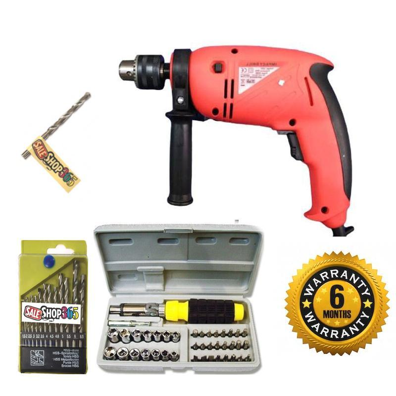 Saleshop365® Powerful 13 mm Impact Drill Machine Reverse Forward 700 watt with 13 Hss Drill Set and 1 Masonry bit with 41 pcs Toolkit screwdriver set - halfrate.in
