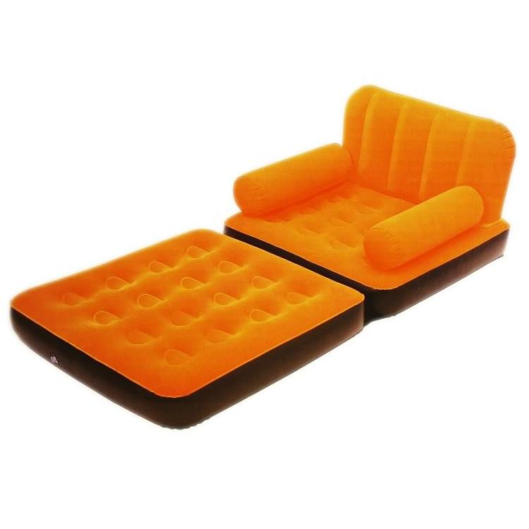 VELVET INFLATABLE BESTWAY SOFA CUM BED AIR BED COUCH ORANGE COLOR ULTRA LOUNGE - halfrate.in