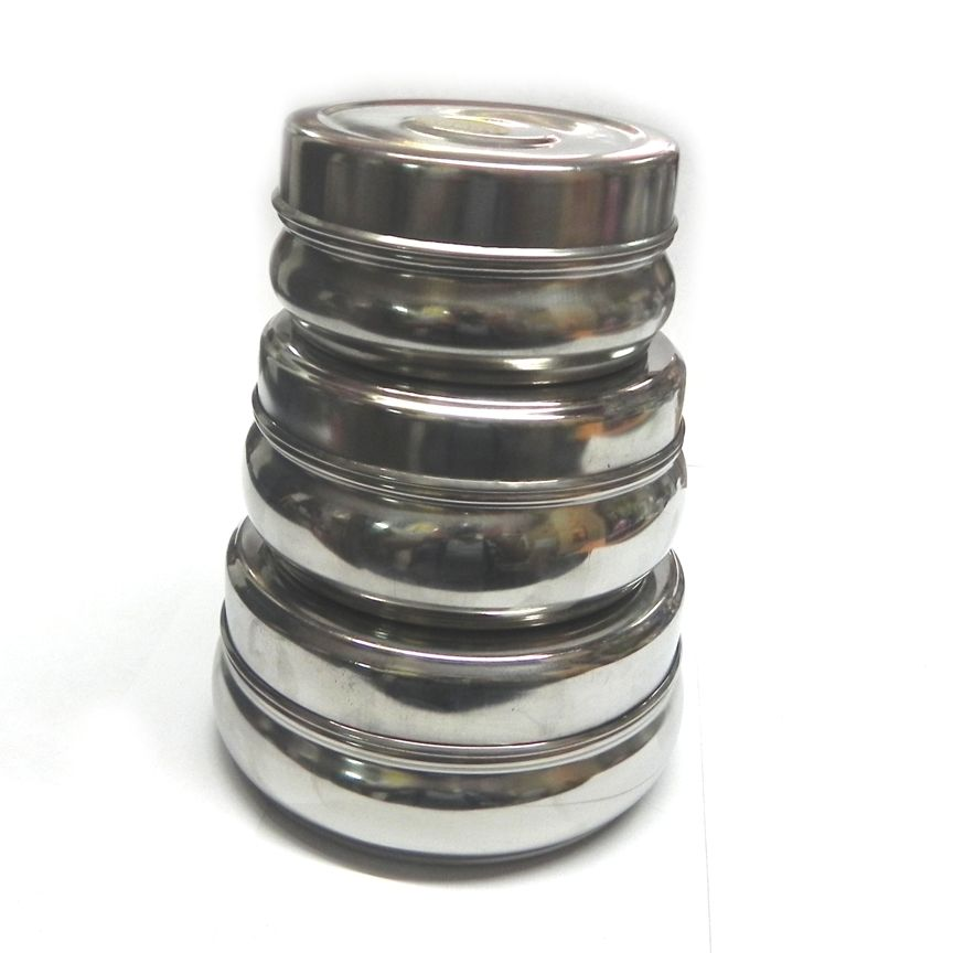 Set of 3 Stainless Steel Dibbi / Container - halfrate.in