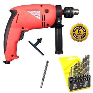 Saleshop365® Powerful 13 mm Reverse Forward Rotation 700 w Impact Drill Machine with 13 Pieces Hss Drill Set for and 1 Pc Masonry bit - halfrate.in