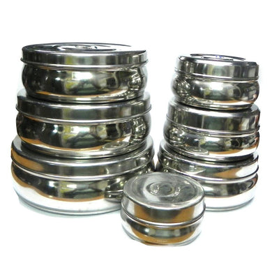 Set of 7 Stainless Steel Round Container / Puri Dabba - halfrate.in