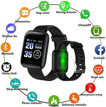 Ekdant® Smart Band ID116 Fitness Tracker Watch Heart Rate with Activity Tracker Waterproof Body Functions Like Steps Counter, Calorie Counter, Heart Rate Monitor