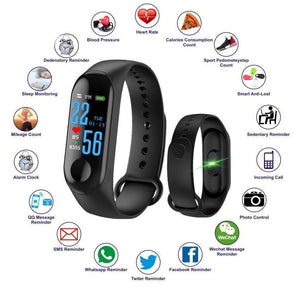 Ratehalf® M3 Band Bluetooth 4.0 Sweatproof Smart and Sleek Fitness Wristband with Heart Rate Monitor Tracker Black - halfrate.in