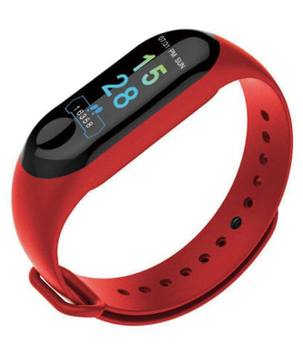 Ratehalf® M3 Band Bluetooth 4.0 Sweatproof Smart and Sleek Fitness Wristband with Heart Rate Monitor Tracker Red - halfrate.in