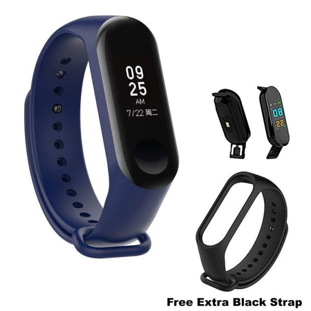Ratehalf® M3 Band Bluetooth 4.0 Sweatproof Smart and Sleek Fitness Wristband with Heart Rate Monitor Tracker Navy Blue - halfrate.in