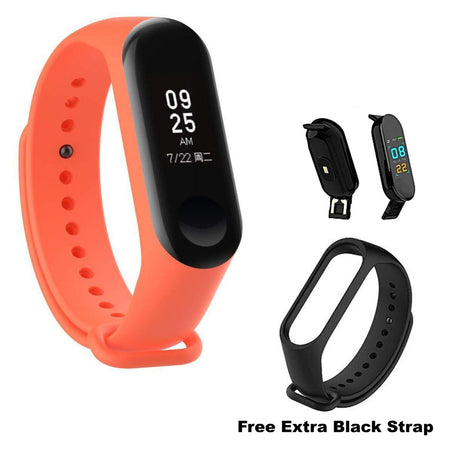 Ratehalf® M3 Band Bluetooth 4.0 Sweatproof Smart and Sleek Fitness Wristband with Heart Rate Monitor Tracker Orange - halfrate.in