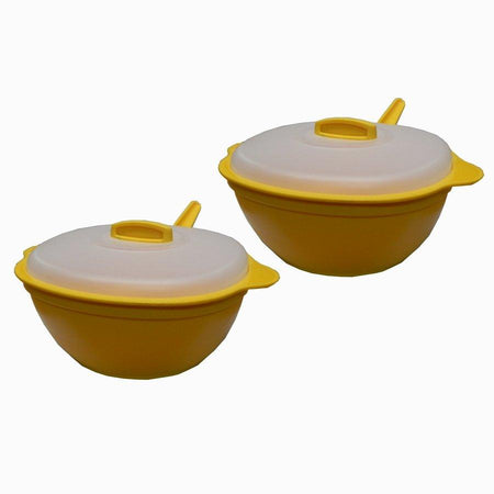 Pair of Microwave Cook, Heat and Serve Square Casserole with Lid and ladle - halfrate.in
