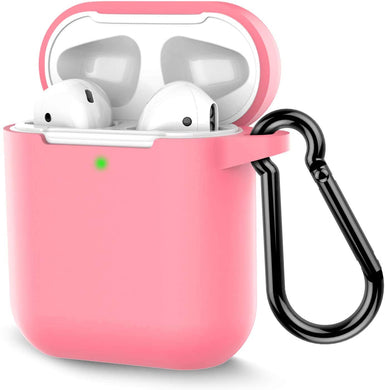 Silicone Shock Proof Protection Sleeve Skin / Tough Cover Case Compatible with AirPods (2 & 1) /Case Cover for AirPods Wireless Headset Headphones Earphone (Baby Pink)