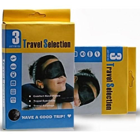 3 in 1 Travel Set Eye Cover + Ear Plug + Neck Pillow - halfrate.in