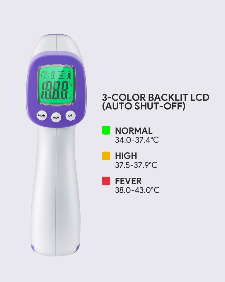 Ratehalf® Digital Thermometer Infrared Forehead Non-Touch Temperature for Baby Adult LCD Non-Contact IR Thermometer - halfrate.in