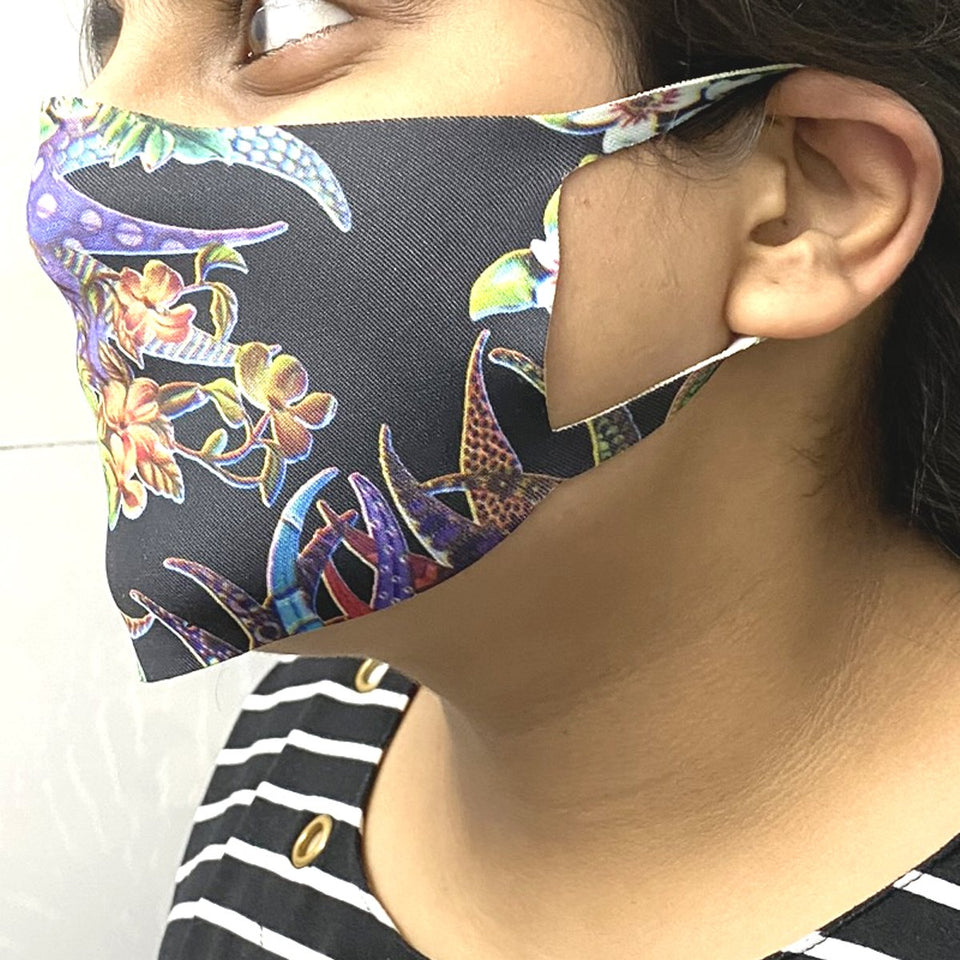 Ratehalf® Face Mask Printed Reusable Washable Cloth Face Mask for Women - Protects from Dust, Pollen and Pollution - 5 pcs - halfrate.in