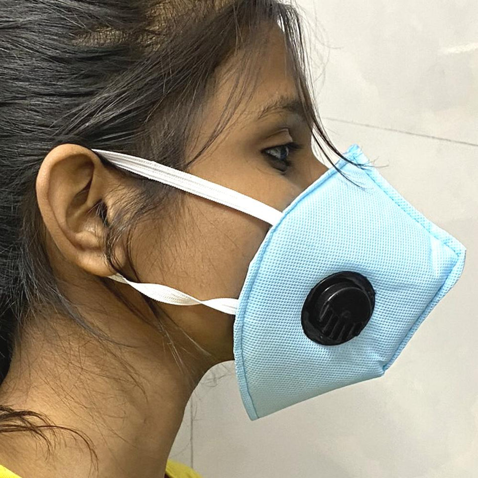 Ratehalf® High filtration 4 ply Reusable Wellness Mask with PU foam Three Layer Dust Pollution Washable Mask with Breathing valve (Blue) -1pc - halfrate.in