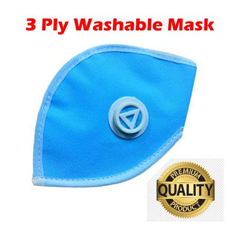 Ratehalf® 3 ply High filtration Reusable Wellness Mask Dust Pollution Washable Mask with Breathing valve (Blue) - 1pc - halfrate.in