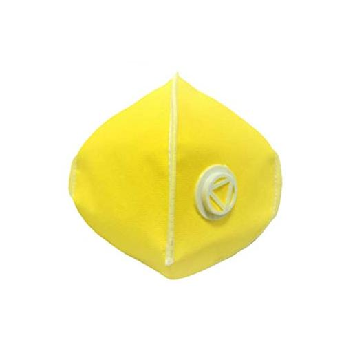 Ratehalf® 3 ply Yellow High filtration Reusable Wellness Mask Dust Pollution Washable Mask with Breathing valve - 5pcs - halfrate.in
