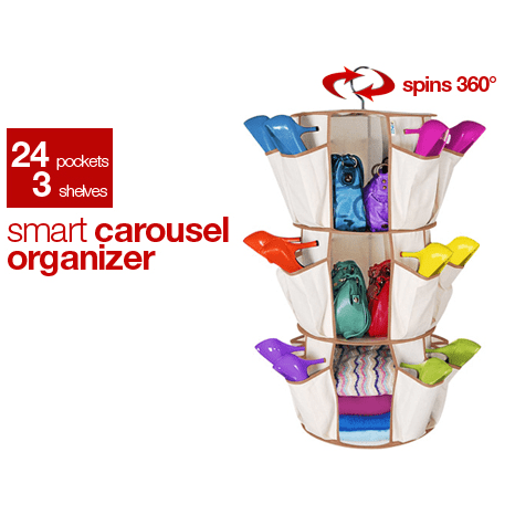 Smart Carousel Organizer Shoe Cloth Book Bag Rack 24 Pocket Spin 360 Degree - halfrate.in