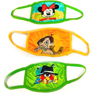 Ratehalf® Two Layer Washable Anti-Pollution & Dust Protect Face Mask for Girls and Boy With Cartoon Printed - (Pack Of 2 Mask) Assorted Print - halfrate.in