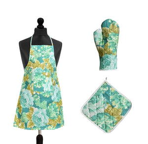 Kitchen Apron 3 pcs Apron, Glove & Pot Holder - halfrate.in