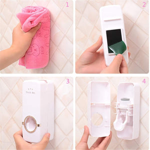 Automatic Toothpaste Dispenser and 5 Toothbrush Holder for Bathroom, Wall Mounted - halfrate.in