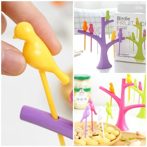 Birdie Fruit Fork Bird Shape Stick Tree Shape Holder Tableware Food Grade - halfrate.in