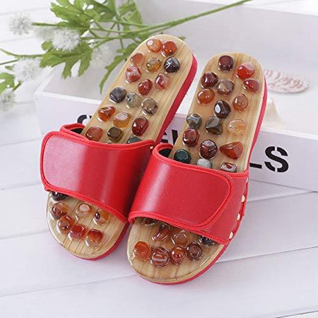 Natural Cobblestone Agate Stone Foot Massage Slippers Acupressure paduka Feet Care Home Acupoint Seniority Acupuncture Shoes Men Women - halfrate.in