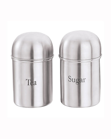 Tea and Sugar Stainless steel Canisters Kitchen storage containers- Set of 2 - halfrate.in