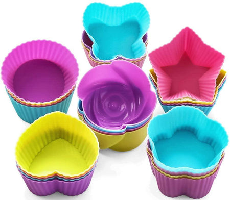 18 Pcs Silicon Mini Cake Moulds Cup cake Silicone mould bakeware - halfrate.in