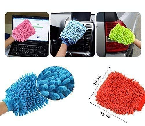 Microfiber Premium Wash Mitt Gloves Multipurpose House Car Glass LCD Cleaning Pack of 2 - halfrate.in