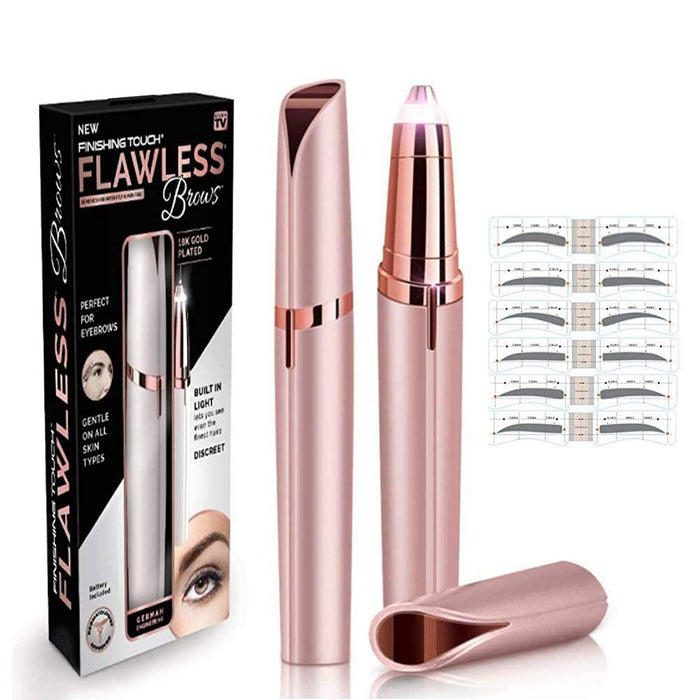 Flawless Eyebrow Hair Remover, Electric Painless Facial Hair Remover Trimmers with LED Light for Women - halfrate.in