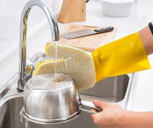 Latex PU Sponge Cleaning Glove Scrubber, 1 Piece Right Hand silver 1010 - halfrate.in