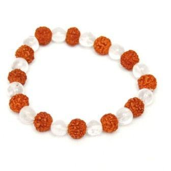 Natural 5 faced Rudraksha Bracelet with Quartz Crystal Beads - halfrate.in