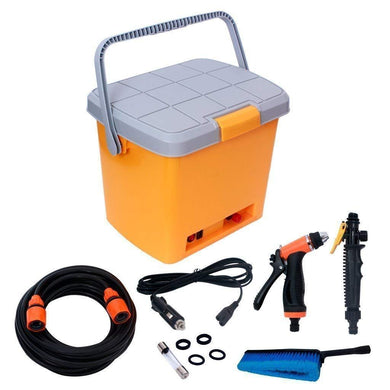 High Pressure Electric 12 V DC Portable Car Washer with 16 Liter Water Tank Clean Spray Gun, High Pressure Water Pump, Brush, Storage Box - halfrate.in
