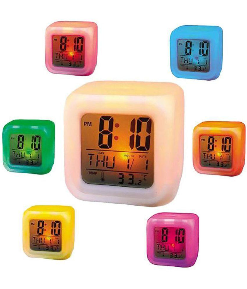 Digital 7 Color Change Alarm Clock & Thermometer Alarm Clock - halfrate.in