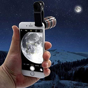 Ekdant® Mobile Camera 12X Zoom Wide Angle HD Telescope Lens with Blur Background and Universal Clip Holder for All Latest Smartphones - halfrate.in