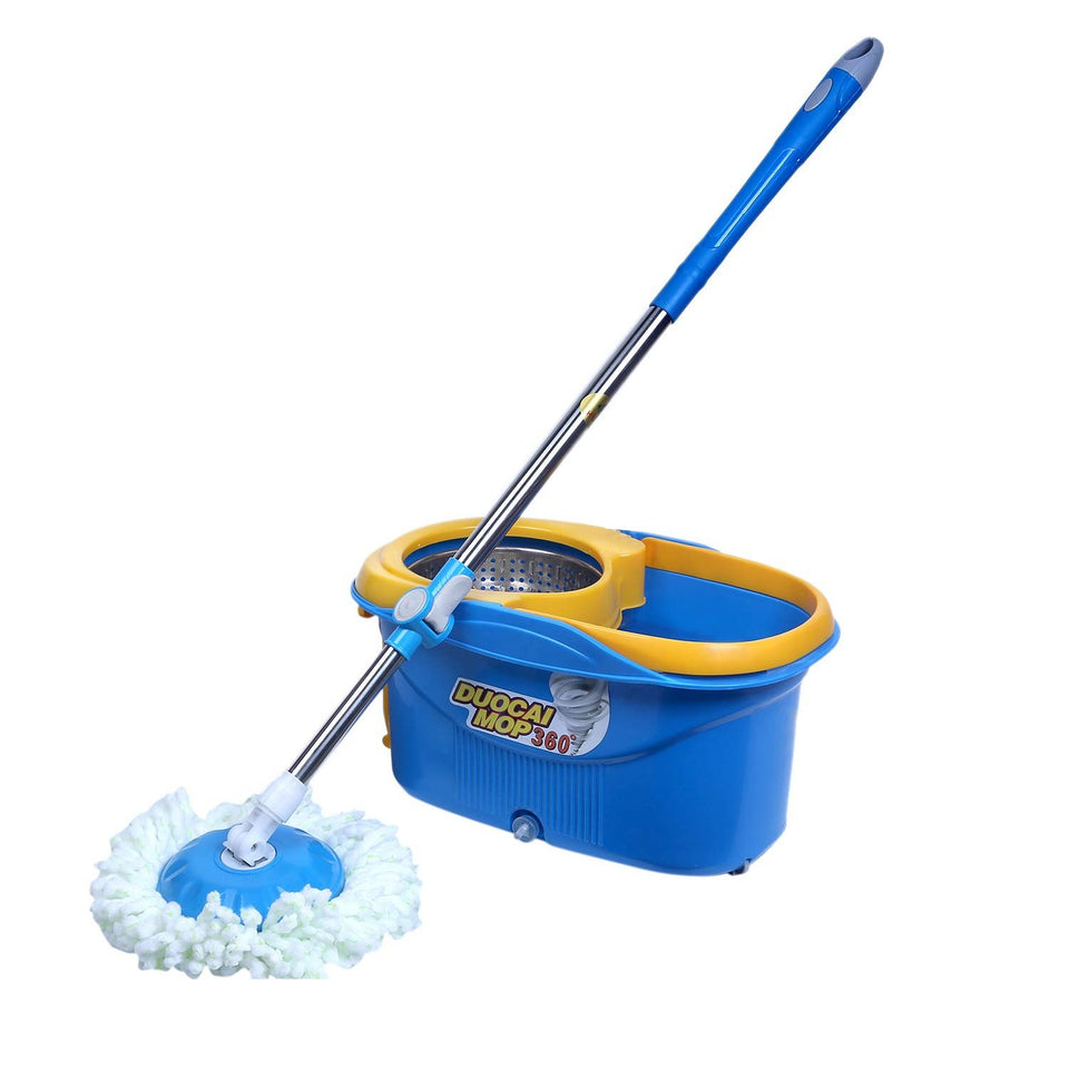 Easy Mop 360 Degree Magic Spin Mop with Stainless Steel Spinner with Wheels / Drain Plug - halfrate.in