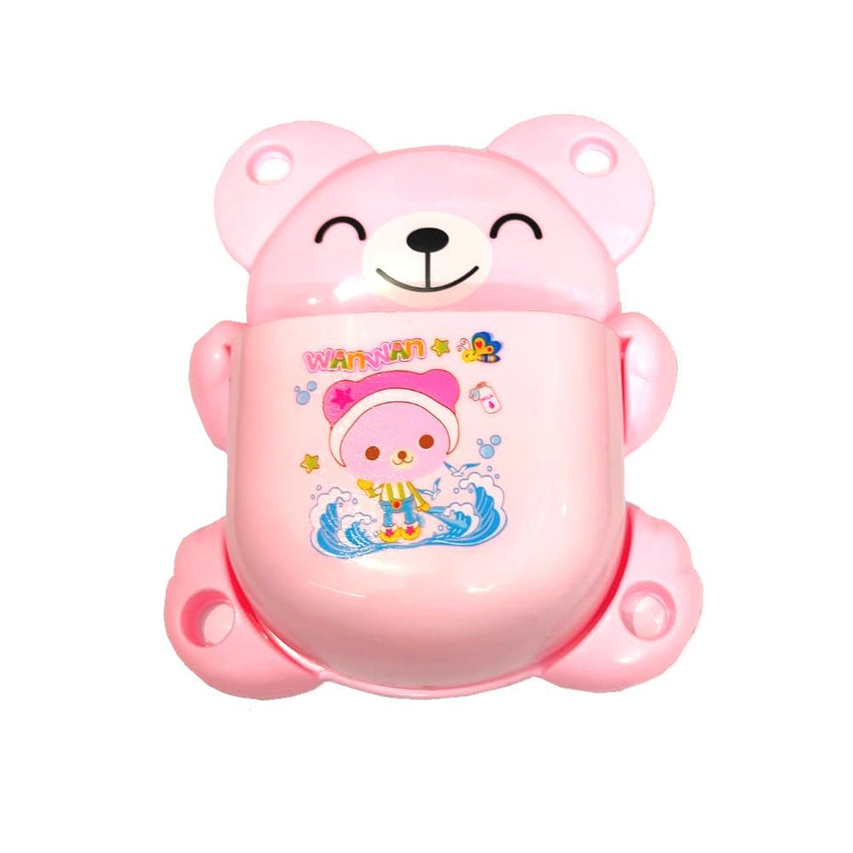 Teddy Bear Shape Cartoon Toothpaste & Toothbrush Multipurpose Holder with Suction Plugs - halfrate.in