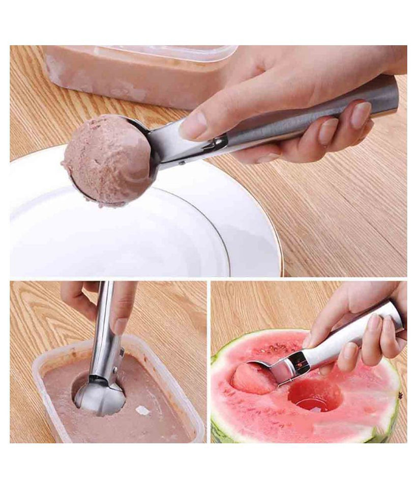 Stainless Steel Ice Cream Scoop with Push Trigger - halfrate.in