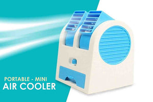 Mini USB Air Cooler Fragrance Air Conditioner Cooling Fan Cooling Portable Desktop Dual Blade-less - halfrate.in