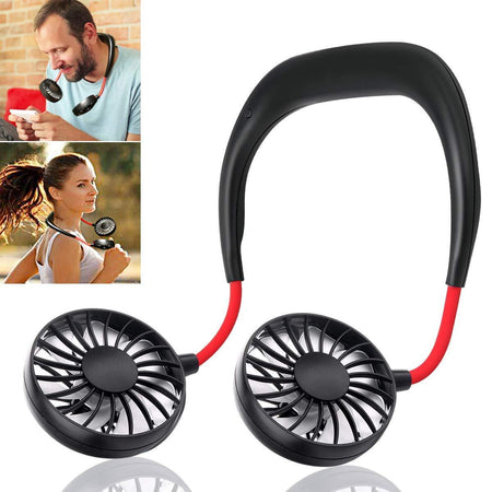 Portable Hand-Free Mini Personal Neck-Hanging USB Rechargeable Cooling Double Fan with LED Light - halfrate.in