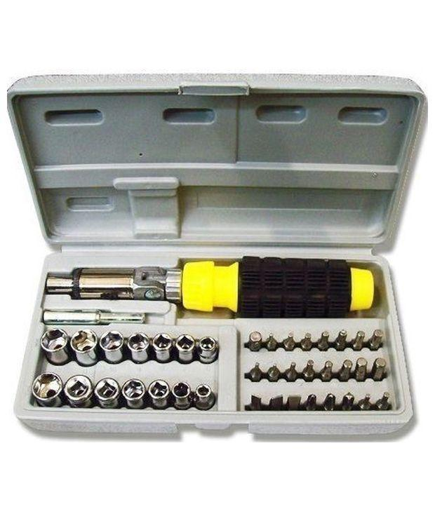 Saleshop365® Powerful Drill Machine 10mm with 14 Bits and 41 pcs Screwdriver Toolkit - halfrate.in