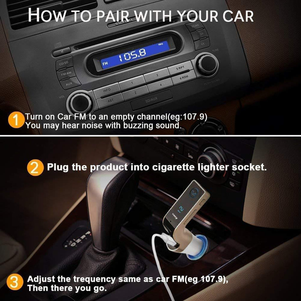 Ekdant® CARG7 Bluetooth Car Charger FM Kit MP3 Transmitter USB and TF Card Slot with in Built Mic Hands-Free Calling for All Android and iOS Devices - halfrate.in