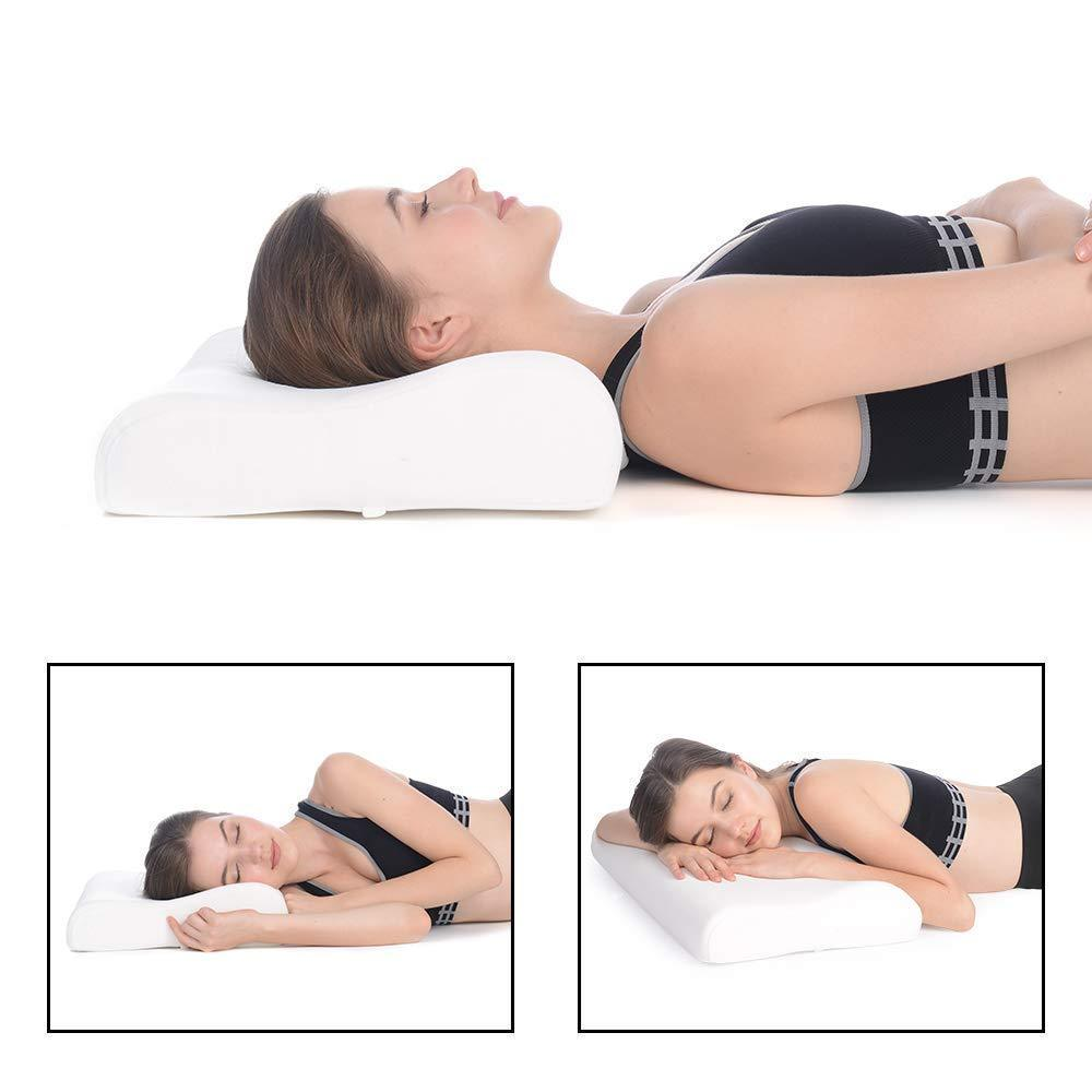 Memory Foam Pillow, Cervical Pillow for Neck Pain, Orthopaedic Contour Pillow Support for Back, Stomach, Side Sleepers - halfrate.in