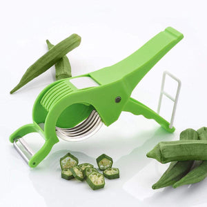 Plastic 2 in 1 Vegetable & Fruit Multi Cutter & Peeler,Veg Cutter Sharp Stainless Steel 5 Blade Vegetable Cutter with Peeler - halfrate.in