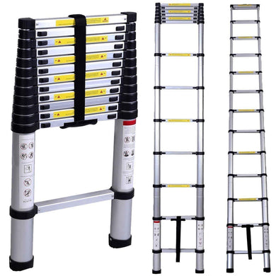 Portable and Compact 7-Steps Telescopic Foldable Aluminium Anodized Silver Ladder 150 KG Capacity (200 cm, 6.6 ft) - halfrate.in