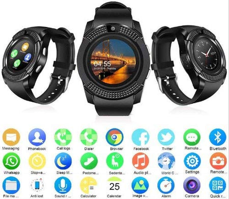 V8 Android Smart Watch Smartwatch Bluetooth Touchscreen Sweat Proof Phone with Camera TF/SIM Card Slot for Android and iPhone