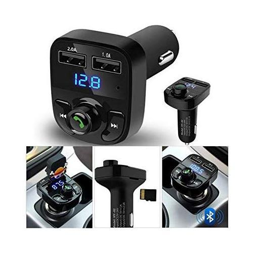 Ekdant® X8 Car Bluetooth FM Transmitter Kit with QC 3.0 Hands-Free Dual USB Rapid Fast Charger - halfrate.in