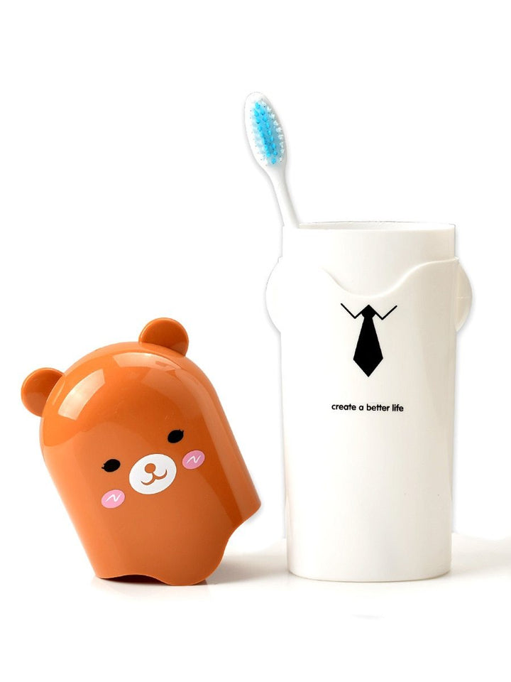 Portable Cartoon Animal Toothbrush Holder Box Plastic Tooth Mug Toothpaste Case Cup Pencil Box Travel Camping - halfrate.in