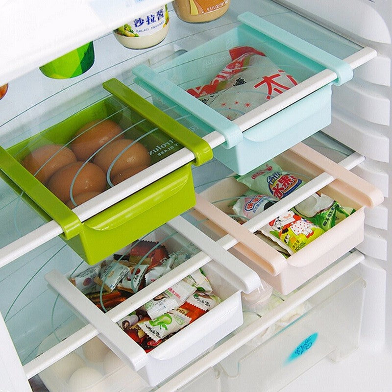 Plastic Kitchen Refrigerator Fridge Storage Drawer Rack Freezer Shelf Holder - halfrate.in