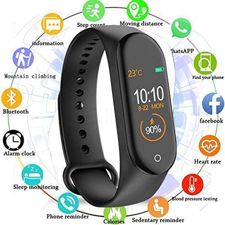 M4 Smart Watch Band Fitness Tracker with Heart Rate, Activity Tracker, Like Steps Counter, Calorie Counter, BP, Heart Rate, LED Touch screen